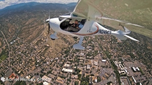 Adriel Heisey flies and photographs from his Flight Design CTsw Light Sport airplane over downtown Santa Fe.