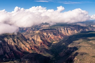 """Clouds over Oak Creek Canyon, Arizona, photographed from the """"Flying Carpet."""""""